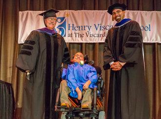 John D. Kemp, President & CEO, Commissioner of Education, John King and 2013 HVS Graduate