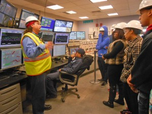 Students visit Covanta and learn about careers they offer.