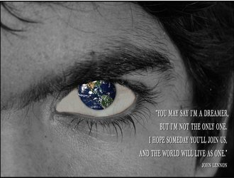 Student Artwork with quote by John Lennon