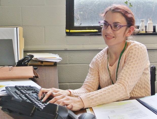 Heidi at her desk.