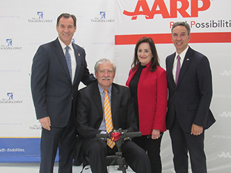 Former Nassau County Executive Tom Suozzi, John Kemp, President & CEO, Viscardi Center, Beth Finkel, AARP New York State Director, Republican New York State Senator Jack Martins