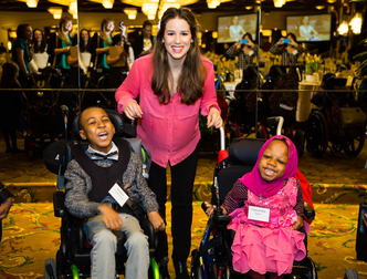 Chilina Kennedy with students from the Henry Viscardi School