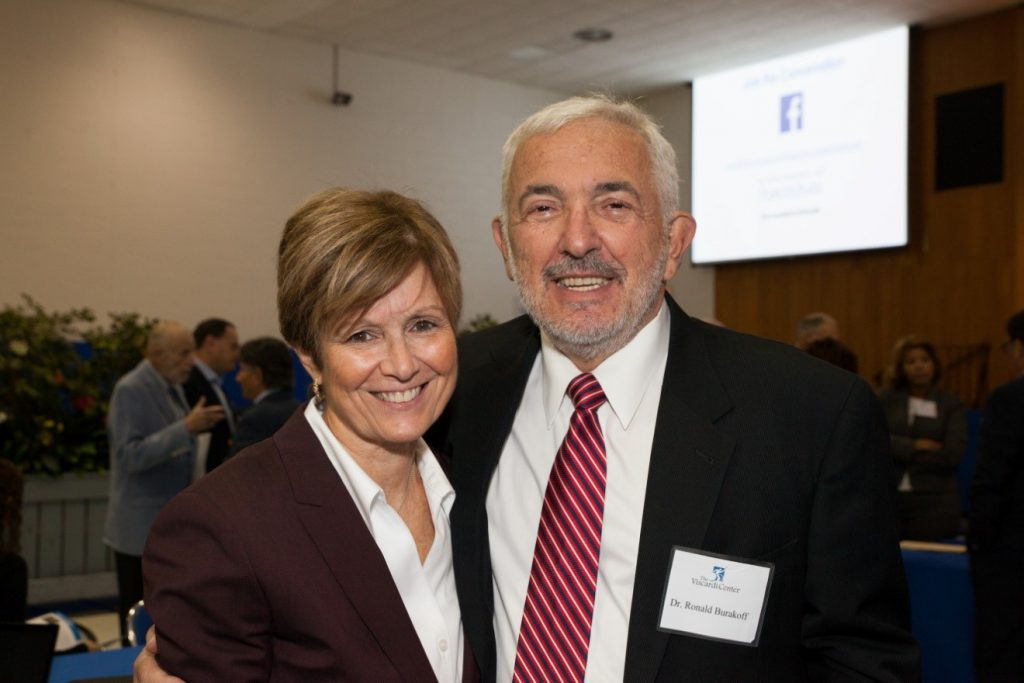 Dr. Debra Cinotti, Chair for the Department of General Dentistry of the Stony Brook School of Dental Medicine and Dr. Ron Burkaroff, Chairman of the Department of Dental Medicine, Northwell Health and Chair of Dental Medicine at Hofstra University, during a break at the Project Accessible Oral Health event.