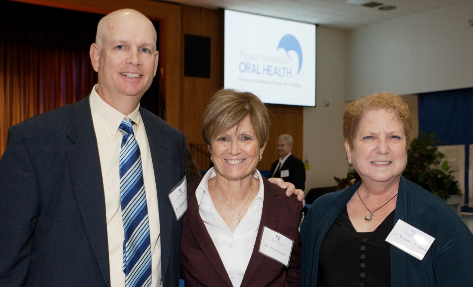 [L-R] Dr. Stephen Beestra, Assistant Dental Chief at Arkansas Children's Hospital with   Dr. Debra Cinotti, Chair for the Department of General Dentistry of the Stony Brook School of Dental Medicine and Dr. Miriam Robbins, Chair of Dental Medicine, Winthrop Hospital.