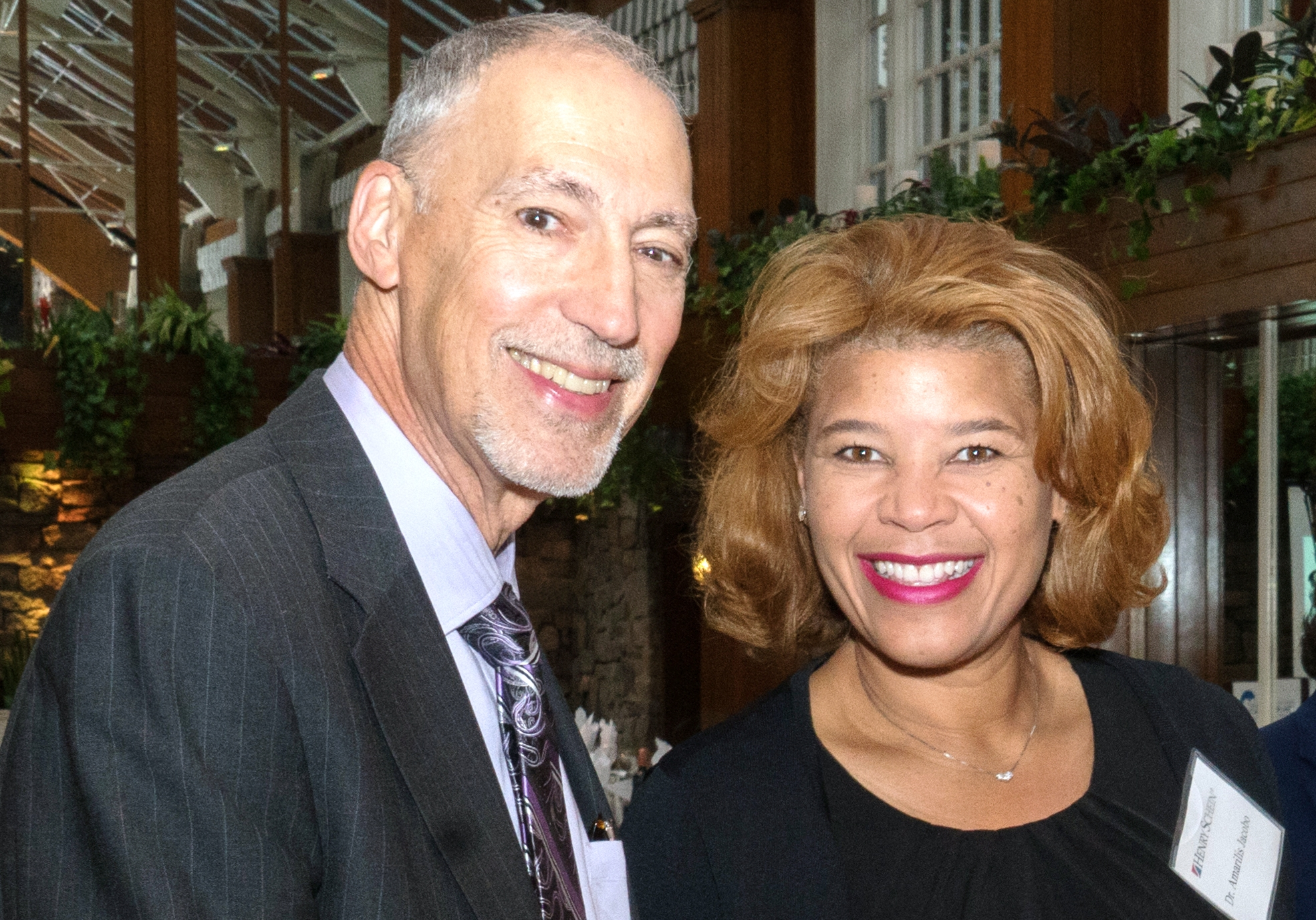 [L-R] Dr. Richard Herman, Dental Department Director at Cornerstone Family Healthcare and Dr. Amaralis Jacobo of the Bronx Dental Society and the Hispanic Dental Association at the Day 1 Project Accessible Oral Health dinner.