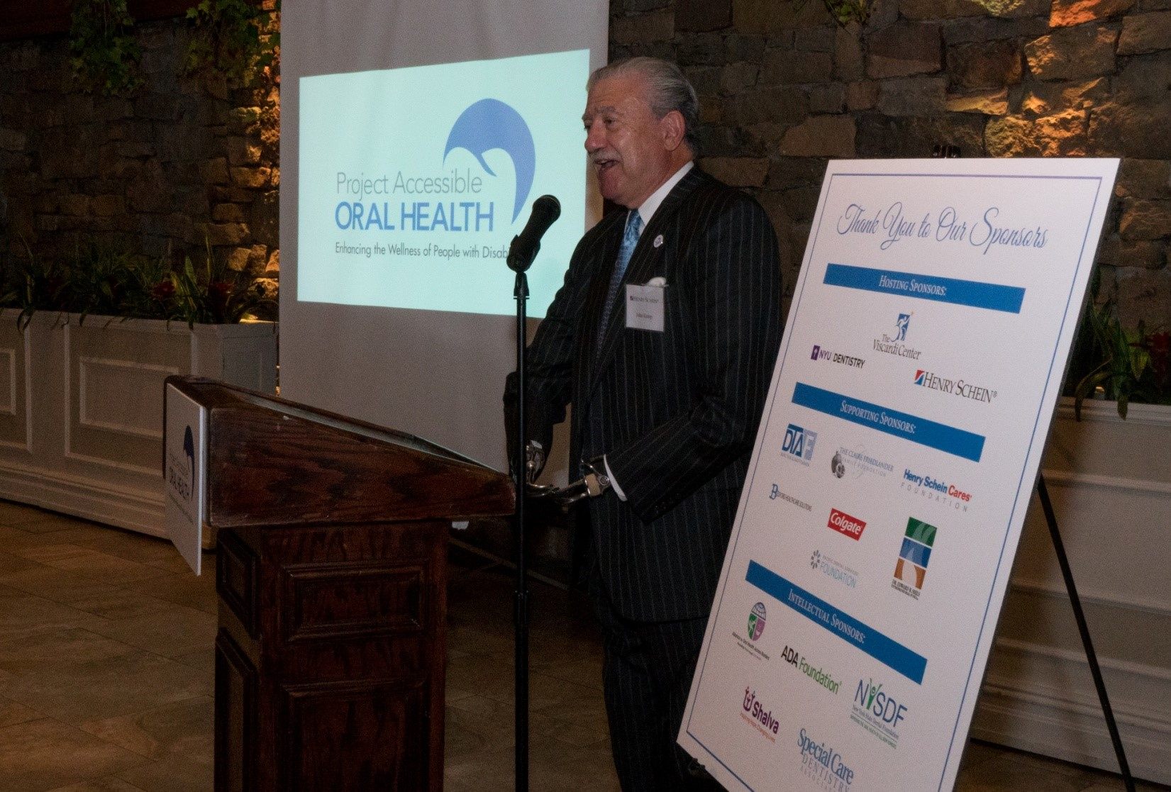 John D. Kemp, President & CEO, The Viscardi Center; Chairman, Project Accessible Oral Health, recapping Day 1 of the event at the thank you dinner.