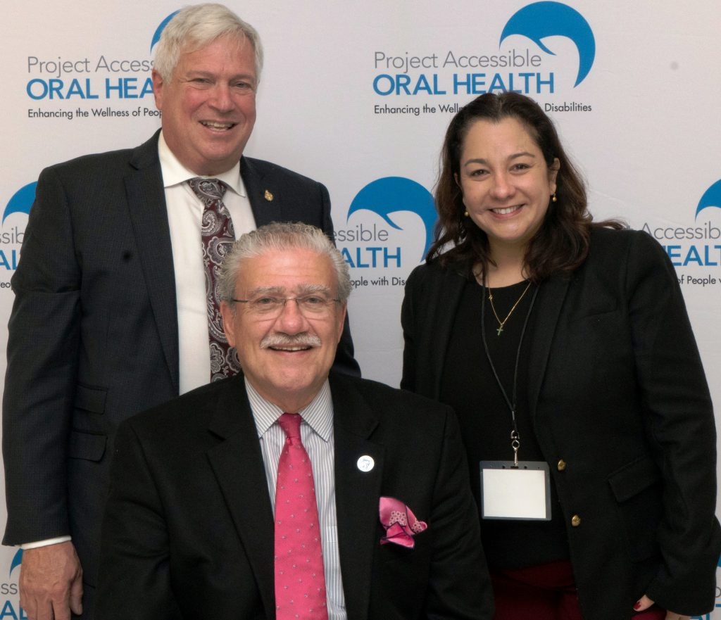 Mark S. Wolff, DDS, PhD, Morton Amsterdam Dean (Effective 1 July 2018), University of Pennsylvania, School of Dental Medicine; John D. Kemp, President & CEO, The Viscardi Center and Chairman, Project Accessible Oral Health; and Matilde Hernandez, DDS, MS, Scientific Affairs Manager Canada/ Public Health North America, Colgate Pharmaceuticals.