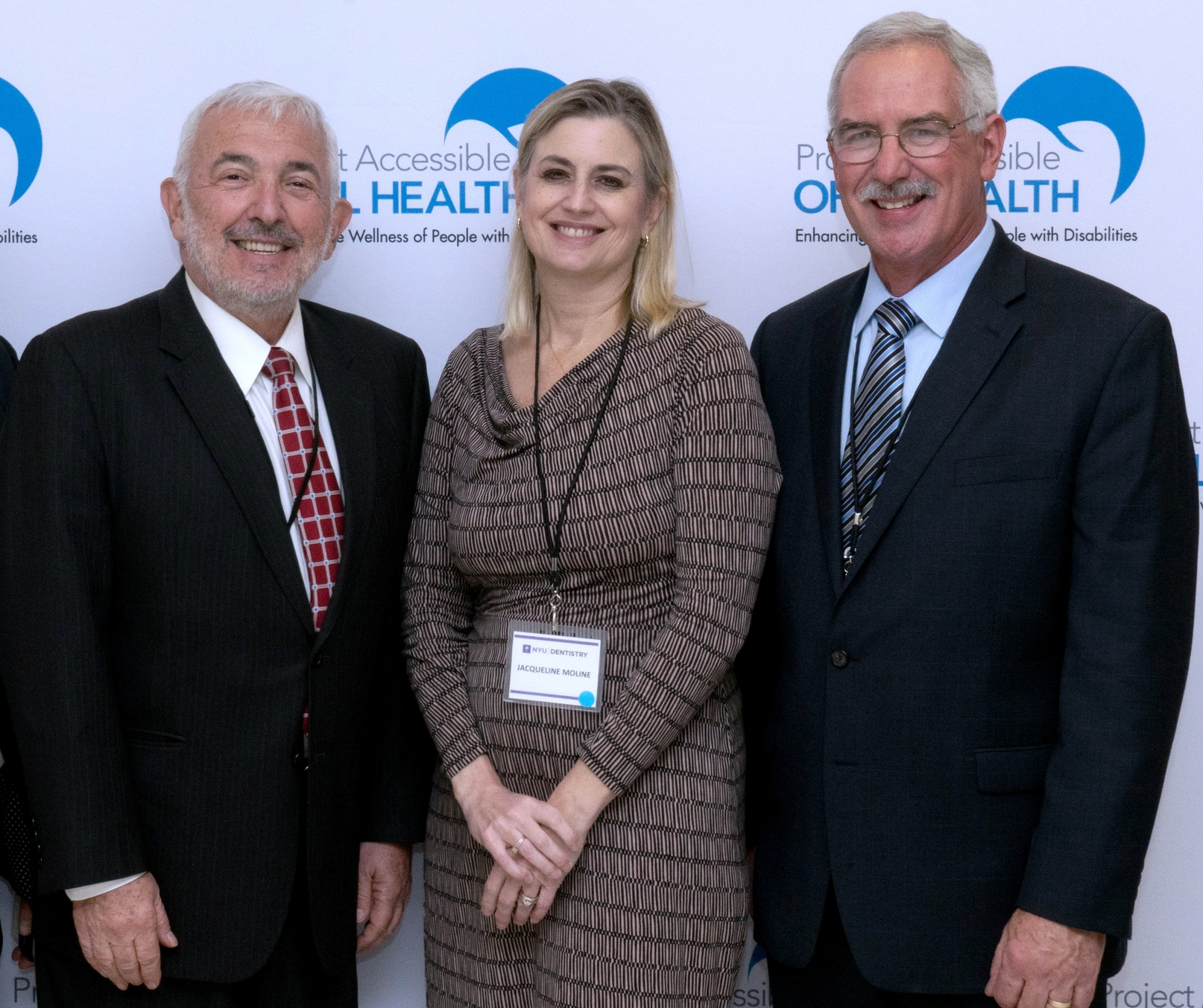 L-R . Dr. Ron Burkaroff, DMD, MPH, Chairman of the Department of Dental Medicine, Northwell Health and Chair of Dental Medicine at Hofstra University; Jacqueline Moline, MD, MSc, FACP, FACOEM, Occupational Medicine, Northwell Health and Chair, Hofstra University Department of Occupational Medicine, Epidemiology and Prevention; and Dr. Carl H. Tegtmeier, Co-Chair, the New York State Office for People with Developmental Disabilities Task Force on Special Dentistry.