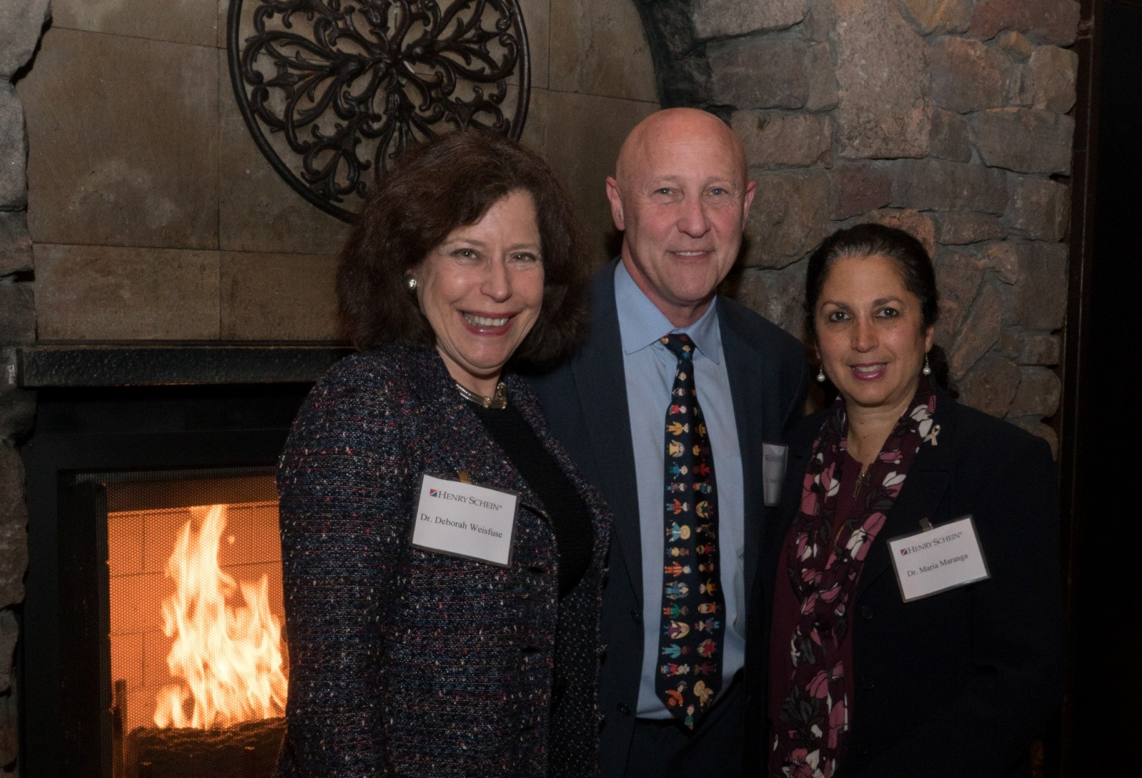 [L-R] Dr. Deborah Weinfuse of the New York State Dental Society with Dr. Joe Brofsky, Section Head of the Department of Pediatric Dentistry at North Shore LIJ Cohen Children's Hospital, and Dr. Maria Maranga of New York University Dentistry, enjoy a moment at the Project Accessible Oral Health Day 1 dinner.