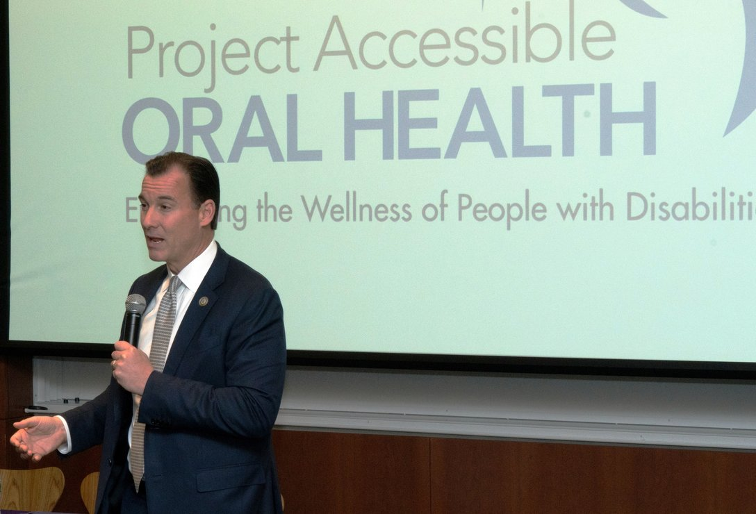 U.S. Congressman Tom Suozzi, speaking about his experience in Washington, D.C. and the need to work collaboratively.