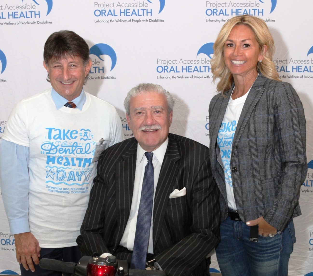 """[L-R] Dr. David Miller, President, Special Care Dentistry Association and Project Accessible Oral Health Board Member, joins together with President & CEO of The Viscardi Center and Chairman of Project Accessible Oral Health  John D. Kemp, and Project Acessible Oral Health Executive Director Barbie Vartanian to launch """"Take a Dental Health Day - Screening and Education for the Disability Community, """" on Friday, October 26 at The Viscardi Center's campus in Albertson, New York."""