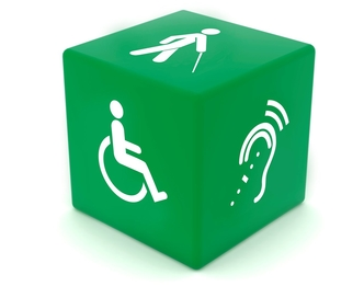 Green cube featuring disability icons.