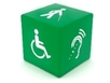 Green cube featuring disability icons