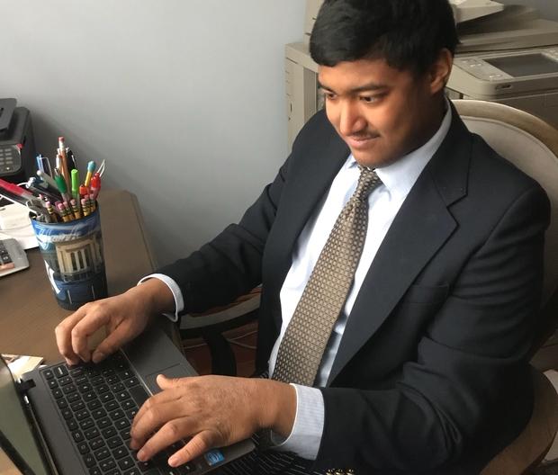 Daniel at a computer.