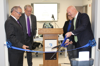 (l-r) NYS Assemblyman Anthony D'Urso, John D. Kemp, President & CEO at The Viscardi Center, Colleen Crispino, Viscardi's Chief Program Officer, John Reilly, SVP of Global Managed Services, Canon Solutions America
