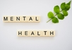 Mental Health spelled out on tiles with a leafy branch next to it