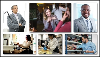 A collage of professional men and woman with disabilities in a variety of employment settings, including working on a laptop at the office, prepping food in a kitchen, and stocking shelves with shoes at a retail store.