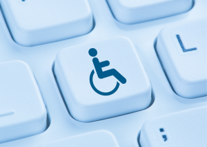 Keyboard with highlighted disability icon key